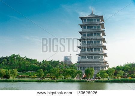 Xi'an, China, tower, architecture, tourism, culture, Buddhism, landscape, landmark, ancient, Oriental, ancient, Changan tower, Expo Park, lake water poster