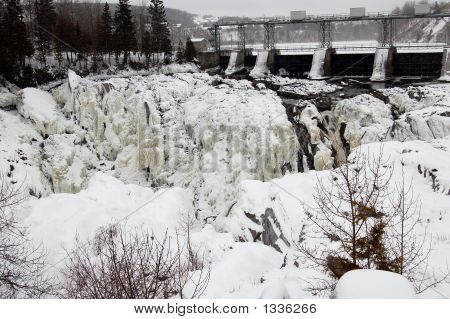 Water Fall In A Winter Setting