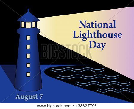 Lighthouse Day, national holiday in USA held annually on August 7th, seaside coast lighthouse with light beacon, night time background.