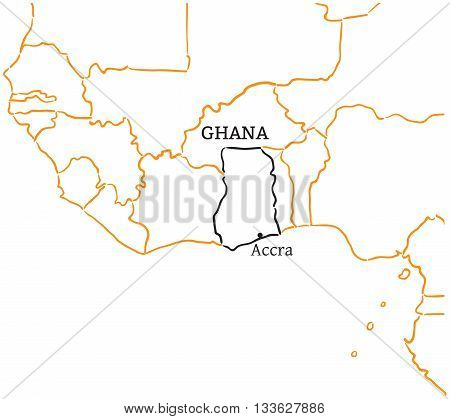 Ghana country with its capital Accra in Africa hand-drawn sketch map isolated on white