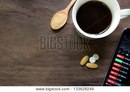 Black coffee and aspirin with a bad news in the morning. Stock market crash, analysis of the market data on smartphone
