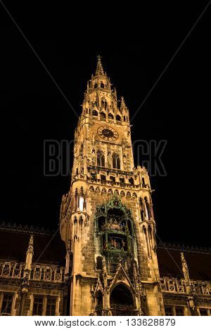 Town Hall of Munich -Bavaria Germany- at night. City Hall lit by spotlights.