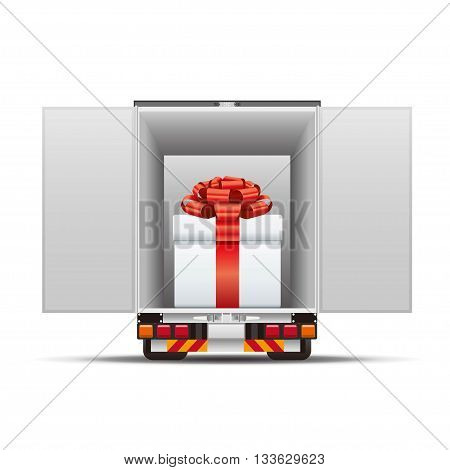 Delivery truck with gift box on white background