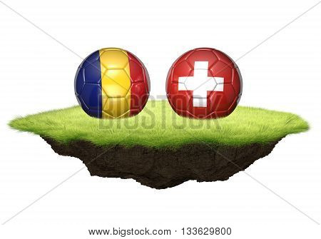 Romania and Switzerland team balls for football championship tournament, 3D rendering