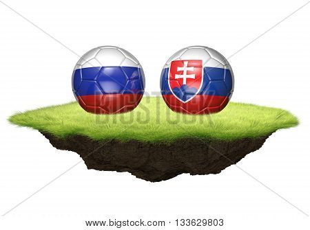 Russia and Slovakia team balls for football championship tournament, 3D rendering poster