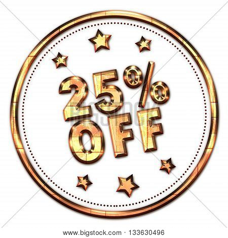 25% off gold word on white background