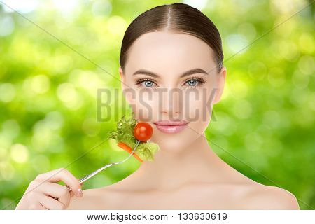 Diet. Dieting concept. Diet plan for woman. Girl and healthy food, slim body. Slimming treatment. Healthy lifestyle