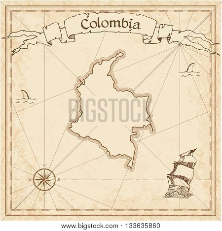 Colombia Old Treasure Map. Sepia Engraved Template Of Pirate Map. Stylized Pirate Map On Vintage Pap