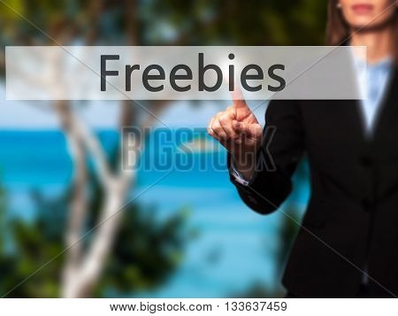 Freebies - Businesswoman Hand Pressing Button On Touch Screen Interface.