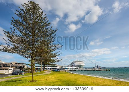 Tauranga New Zealand - November 20 2014: A cruise ship docked in the port of Tauranga - Pilot bay Tauranga New Zealand.