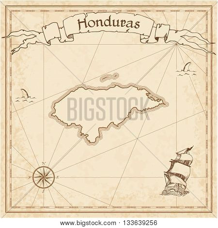 Honduras Old Treasure Map. Sepia Engraved Template Of Pirate Map. Stylized Pirate Map On Vintage Pap