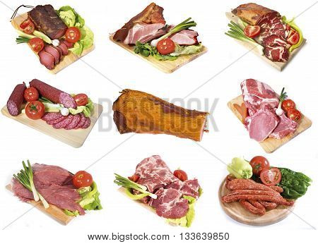 collage of fresh and smoked pork meat