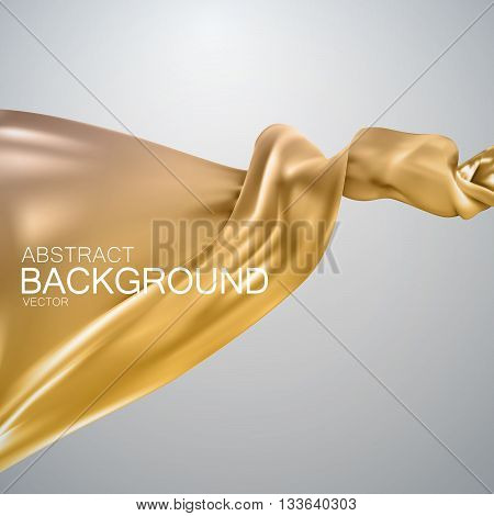 Golden silk fabric. Vector illustration with golden satin or silk fabric. Vector silk textile. Grand business opening or fashion concept