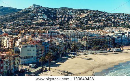 Peniscola coastline view from the Castillo del Papa Luna. Costa del Azahar province of Castellon Valencian Community. Spain