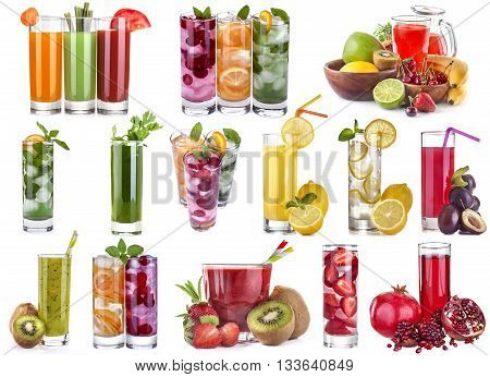 collage of different kinds of fruit and vegetable juices and ice drinks