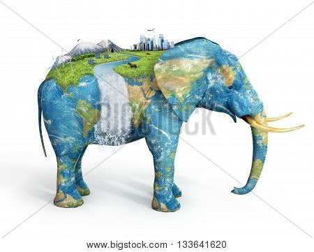 Concept of stability. Future city on textured elephant's back isolated on white background. City mountains animals solar panel on covered grass elephant. Eco concept.