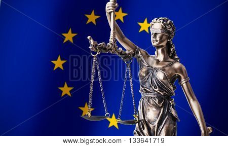 Themis With Scale, Symbol Of Justice On European Union Flag Background
