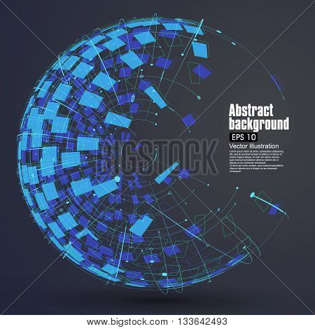 Point line surface formed wireframe sphere, science and technology, abstract illustration.