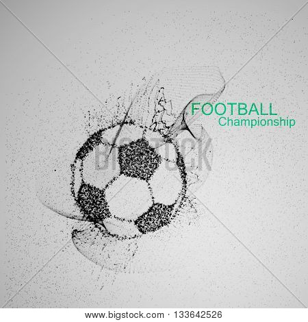Football or Soccer abstract ball. Vector sport illustration of flying abstract Soccer Ball made of ink stylized particles. Abstract 3D fluid ink Soccer ball sign