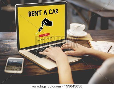 Car Rental Used Car Transportation Vehicle Concept