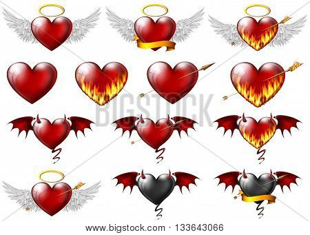 collage of different kinds of hearts on white
