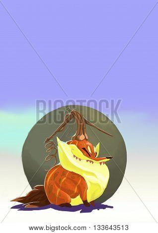 маленький толстый лисенок замоскированный под тыкву