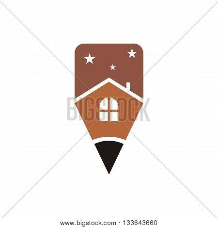 logo house building window circle symbol pencil vector