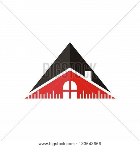 logo house building window circle symbol vector