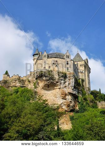 View of the Chateau de Montfort in the Perigord