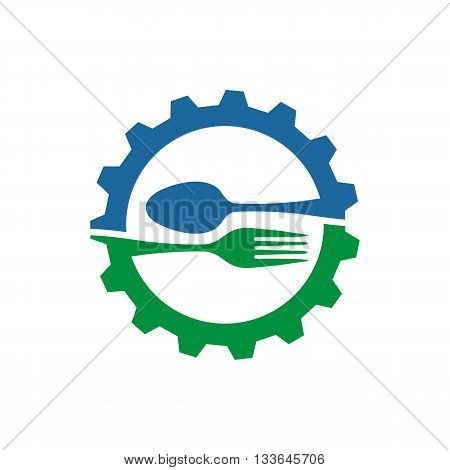gear with spoon and fork logo food kitchen vector