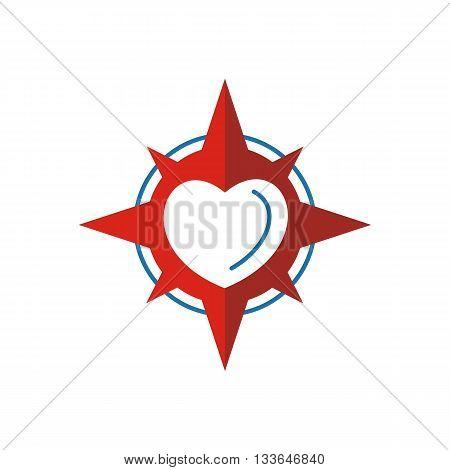 Logo love star compass circle icon vector