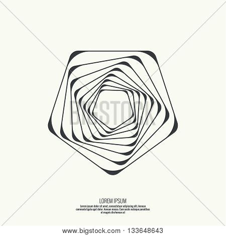 Abstract background with intersecting geometric shapes. Pentagon geometry. Badge, monogram, banner. Black and White. shutter poster