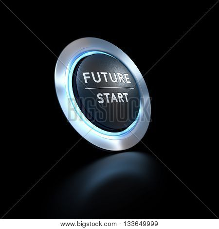 3D illustration of a pushbutton where it is written future start with blue light over black background. Concept image for illustration of life change or strategic vision.