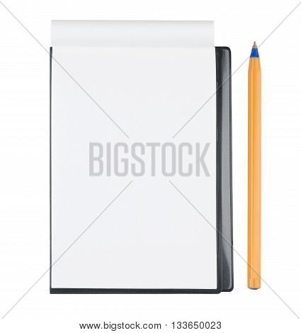 Blank notepad with orange ballpen isolated on white background