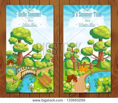 Summer vacation landscapes vertical banner vector illustration
