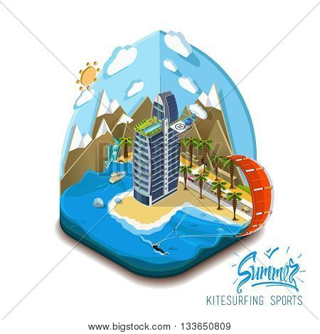 Part of the land, sea and mountains, palm trees and a yacht, paradise, summer vacation, sea, ocean, on the beach. Summer trip, summer island Vector flat isometric 3D concept. Summer kite surfing sport