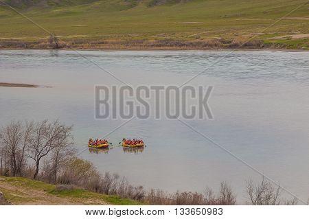 Rafting on Ili River Tamgaly Tas Kazakhstan