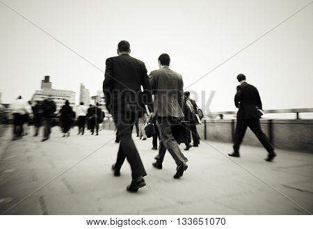 Gentlemen On Their Way To Work Concept