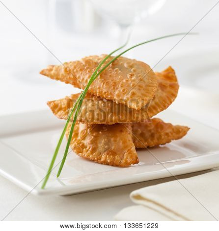 Spanish small empanadas called empanadillas served as tapa