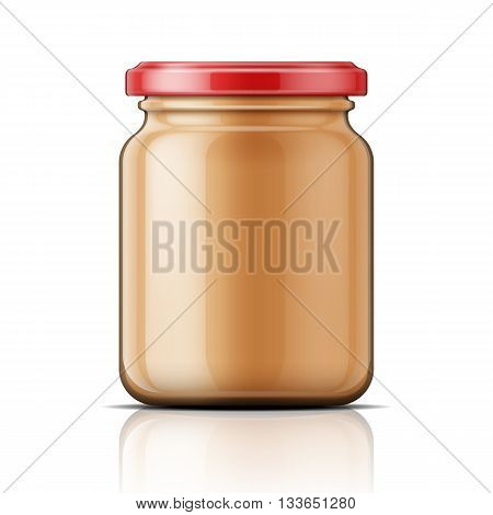 Transparent glass jar with peanut butter. Vector illustration. Packaging collection.