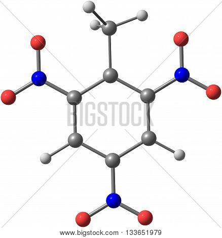 Trinitrotoluene or TNT is known as a useful explosive material with convenient handling properties. 3d illustration