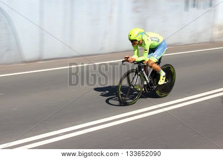 APELDOORN, NETHERLANDS-MAY 6 2016: Evgeni Petrov of pro cycling team Tinkoff during the Giro d'Italia prologue time trial.