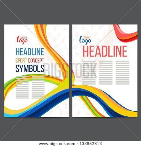 Vector composition of a wave of bands with different colors are intertwined including sport symbols. Concept brochure, web sites, page, leaflet, signs and text separately.