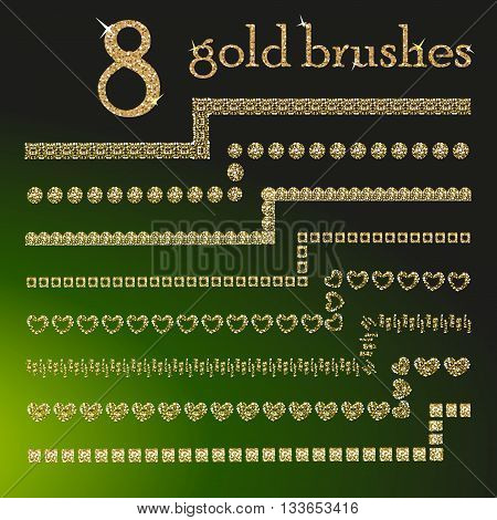 All used pattern brushes are included in brush palette. 8 Gold glitter brushes. Gold dust brushes. Gold brushes for your design. Vector golden geometric set of sparkling borders.  Golden design brushes set.