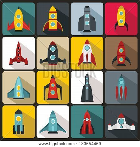 Rocket icons set in flat style for any design