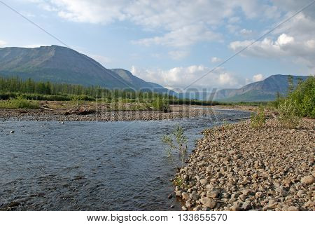 River Bucharama into lake Lama. The Putorana plateau Taimyr Peninsula Russia.