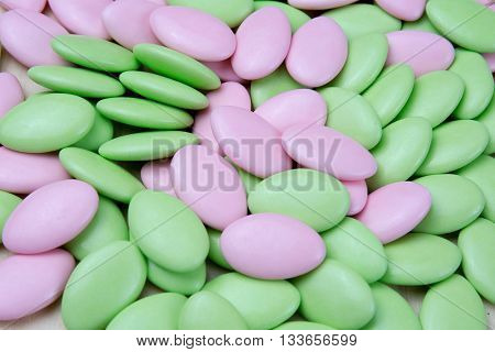 Green And Light Pink Coated Chocolate, Easter Sugar
