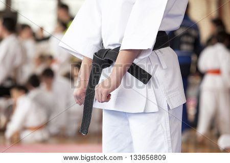 Karate training. Karate practitioner body position during training.