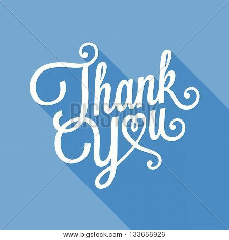 Thank you typographical illustration vector, Thank you calligraphic design for poster, card, and holidays, flat design with long shadow