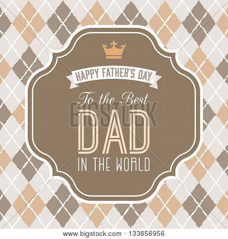 Happy father's day illustration vector, Father's day background with frame and element in Vintage style, Father's day poster with calligraphic font